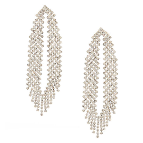 """Claire's - rhinestone 2.5"""" feathered drop earrings - 1"""