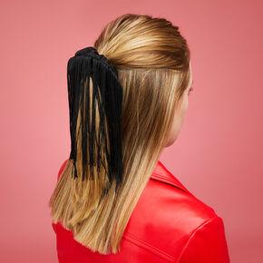 Medium Black Fringe Hair Scrunchie,