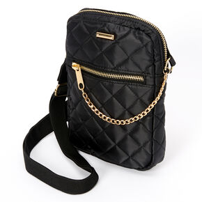 Nylon Quilted Crossbody Bag - Black,
