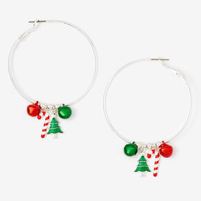 Silver 50MM Christmas Charm Hoop Earrings,
