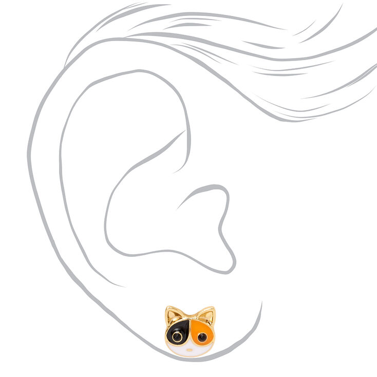 18kt Gold Plated Calico Cat Stud Earrings,