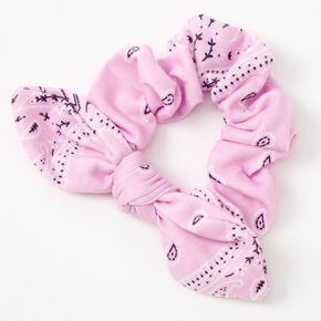 Bandana Knotted Bow Hair Scrunchie - Lilac,