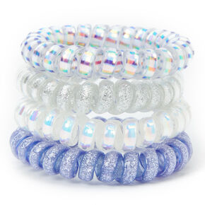 Holographic Glitter Spiral Hair Bobbles - Blue, 4 Pack,