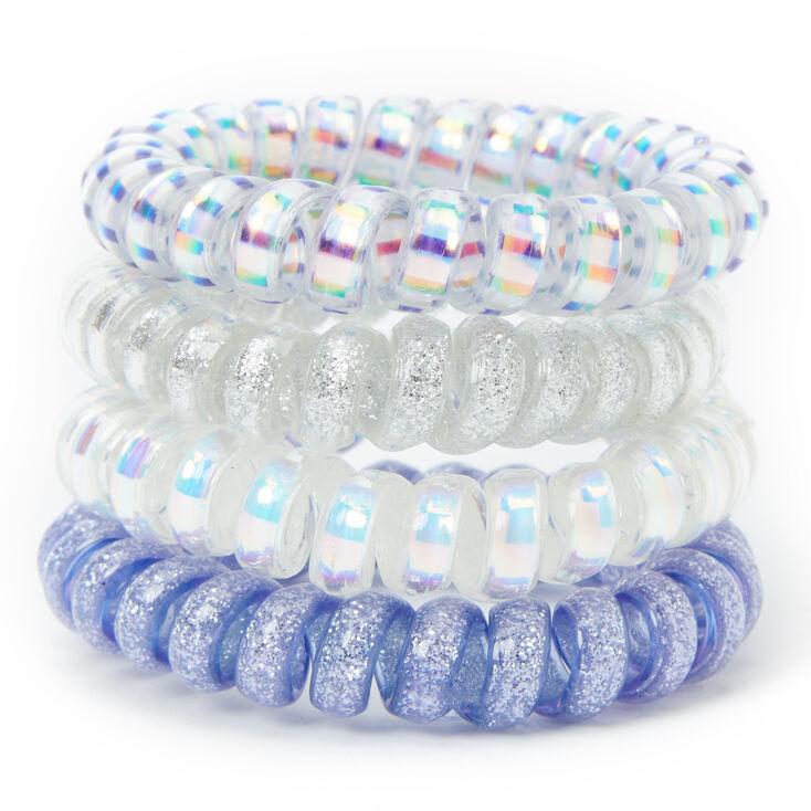 Holographic Glitter Spiral Hair Bobbles - Blue, 4 Pack,