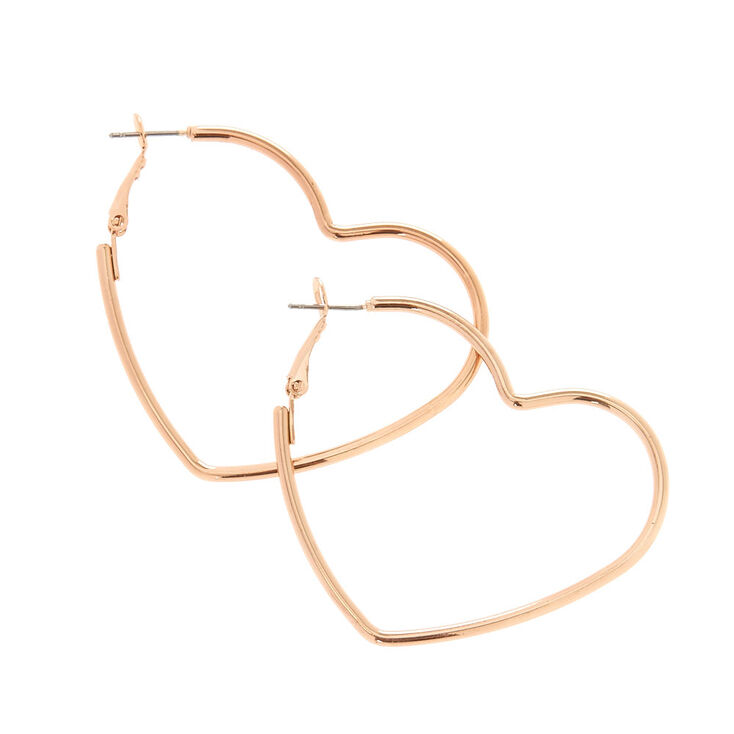 Rose Gold 50MM Heart Hoop Earrings,