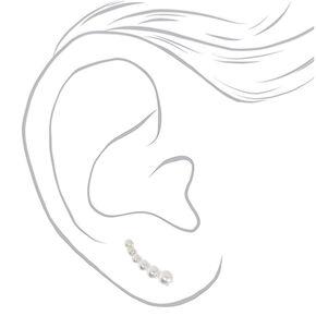 Bijoux d'oreille avec perles d'imitation de différentes tailles 1,3cm couleur argenté,