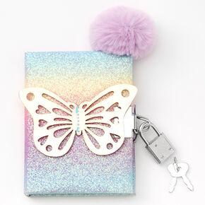 Claire's Club Butterfly Mini Lock Diary - Rainbow,