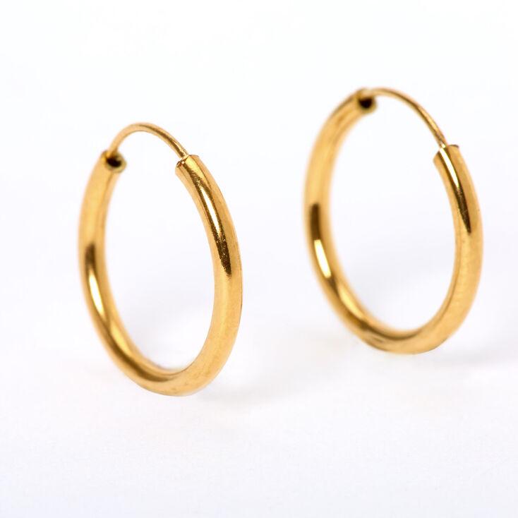 18kt Gold Plated Graduated Hoop Earrings - 2 Pack,