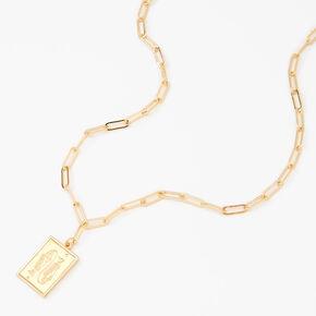 Gold Rectangle Zodiac Symbol Pendant Necklace - Pisces,
