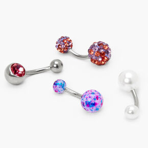 Silver 14G Mixed Crystal Pearl Belly Rings - Purple, 4 Pack,