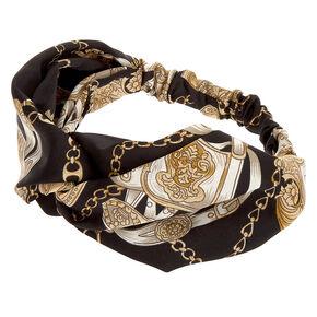 Chain Print Twisted Headwrap - Black,