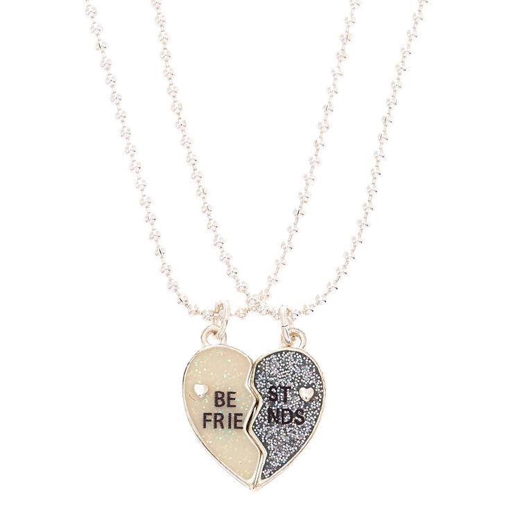 Best Friends Glitter Heart Pendant Necklaces - 2 Pack,