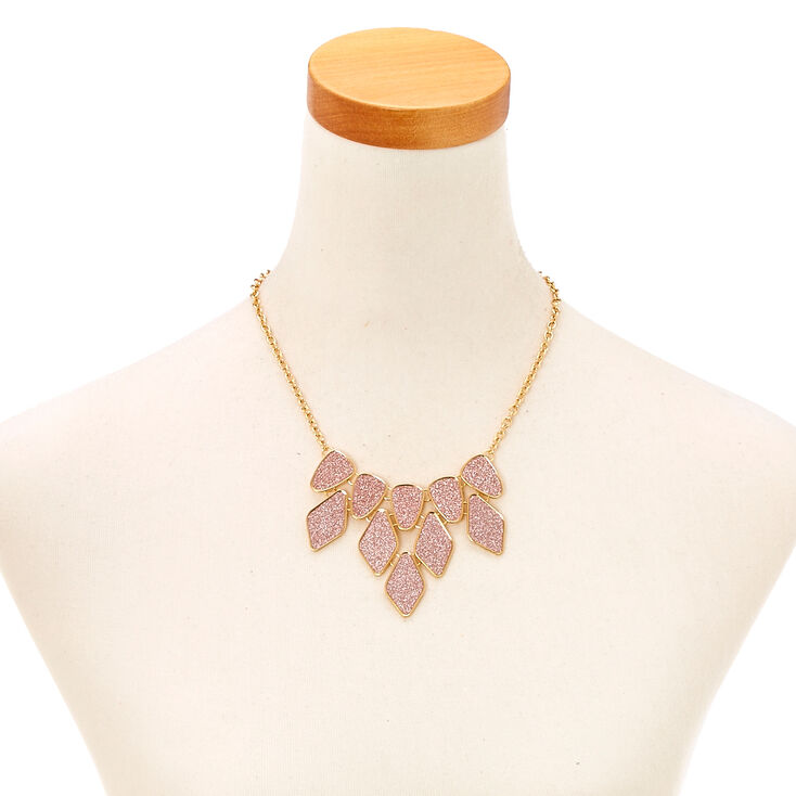 Collier et boucles d'oreilles à caissons et strass rose couleur doré,