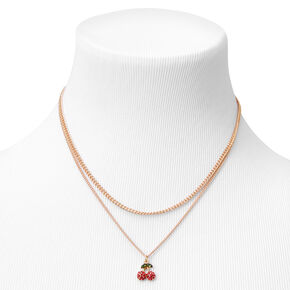 Gold Cherry Multi Strand Pendant Necklace - Red,