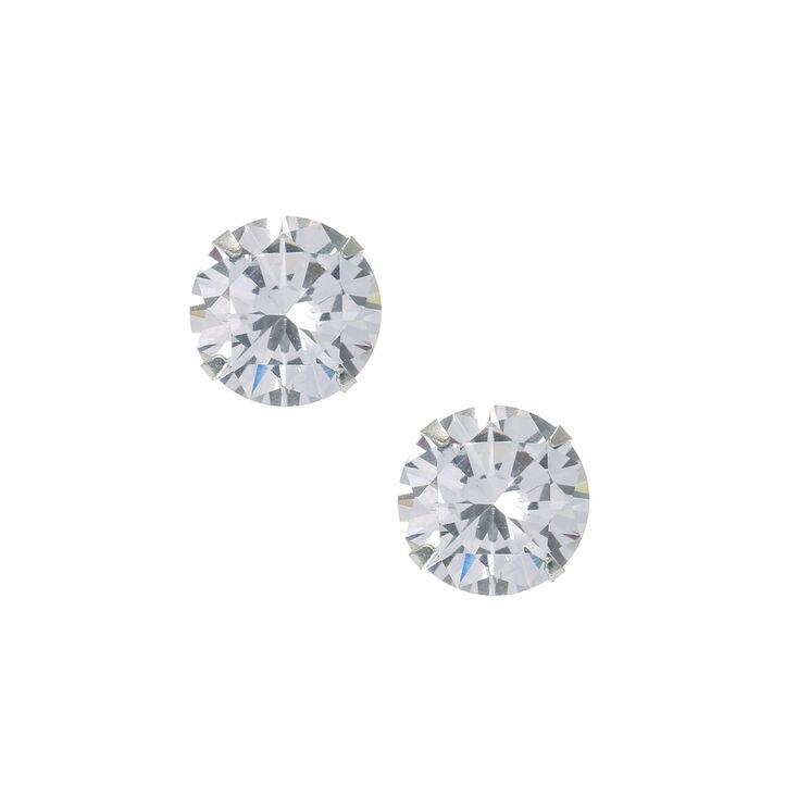Sterling Silver Large Cubic Zirconia Stud Earrings