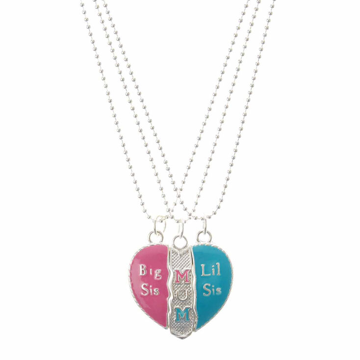 Mum & Sisters Heart 3 Piece Heart Charm Necklaces,