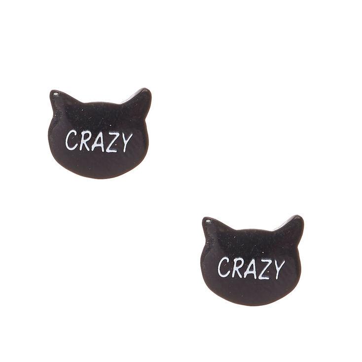 Clous d'oreilles noirs à tête de chat « Crazy »,
