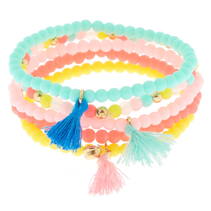 Claire's Club Pastel Beaded Tassel Stretch Bracelets - 5 Pack,
