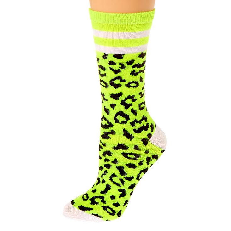 Neon Cheetah Print Crew Socks - 2 Pack,