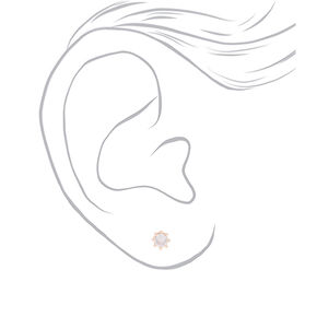 Rose Gold Cubic Zirconia Round Crown Stud Earrings - 5MM,