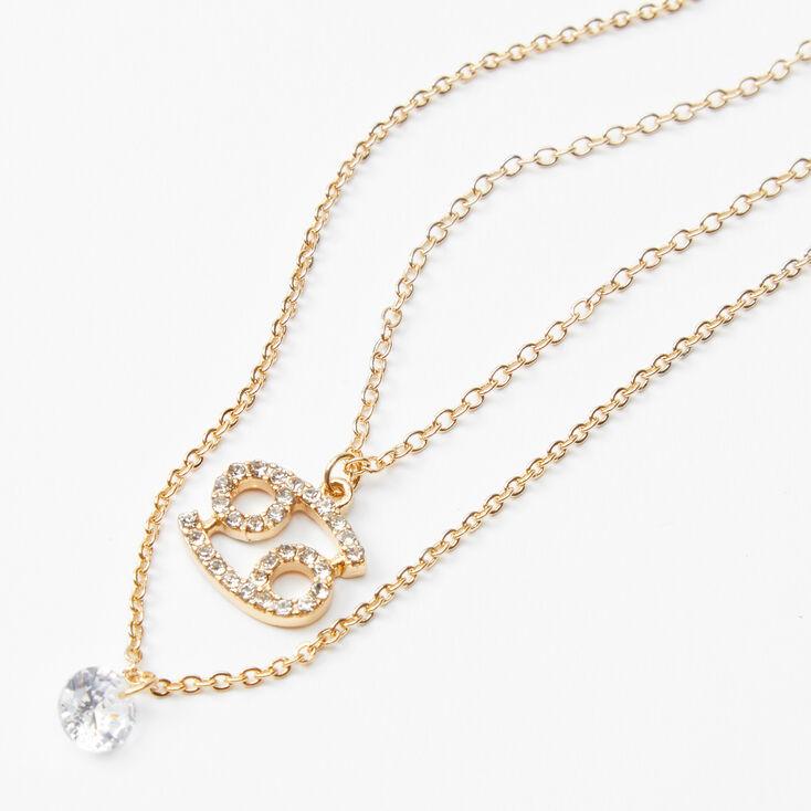 Gold Cubic Zirconia Zodiac Multi Strand Necklace - Cancer,