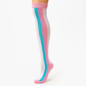 Chaussettes montantes à rayures pastel - Arc-en-ciel,