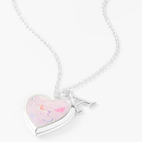 Claire's Club Glitter Unicorn Initial Locket Necklace - Pink, A,