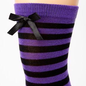 Striped Over The Knee Socks - Purple,