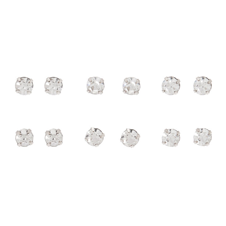 Rose Gold 4mm Crystal Stud Earrings 6 Pack
