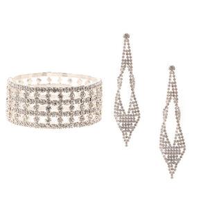 Silver Embellished Bracelet & Drop Earrings Set - 2 Pack,