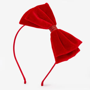 Velvet Bow Headband - Red,