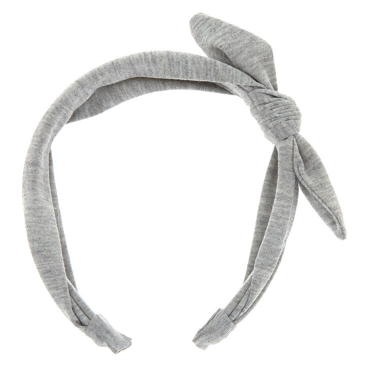Solid Knotted Bow Headband - Light Grey,