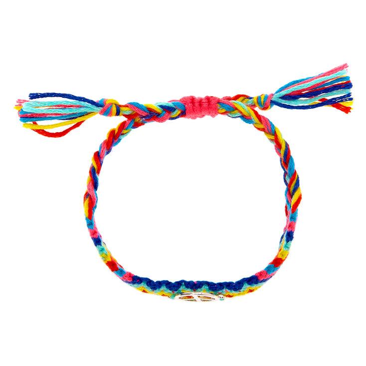 Rainbow Woven Peace Sign Adjustable Bracelet,