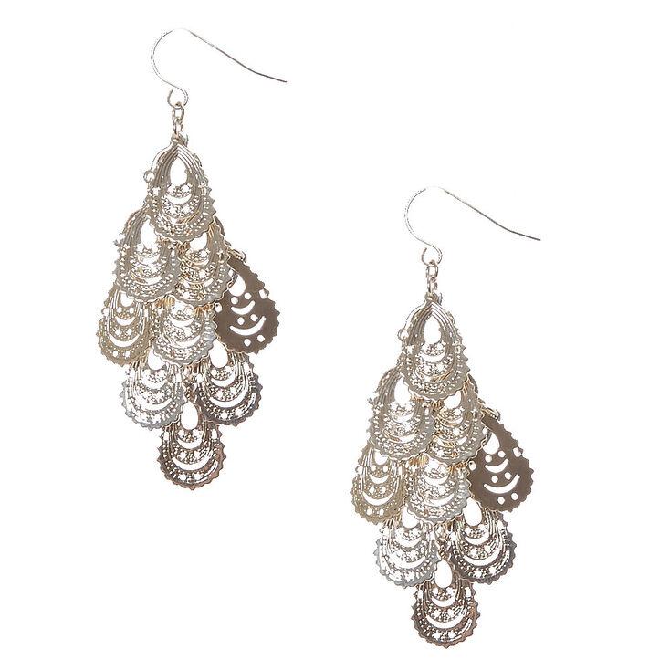 Silver Tone Filigree Teardrop Chandelier Earrings