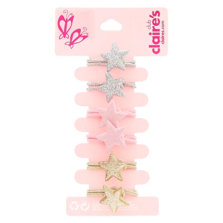 Lot de 6 élastiques à cheveux pailletés avec étoile,