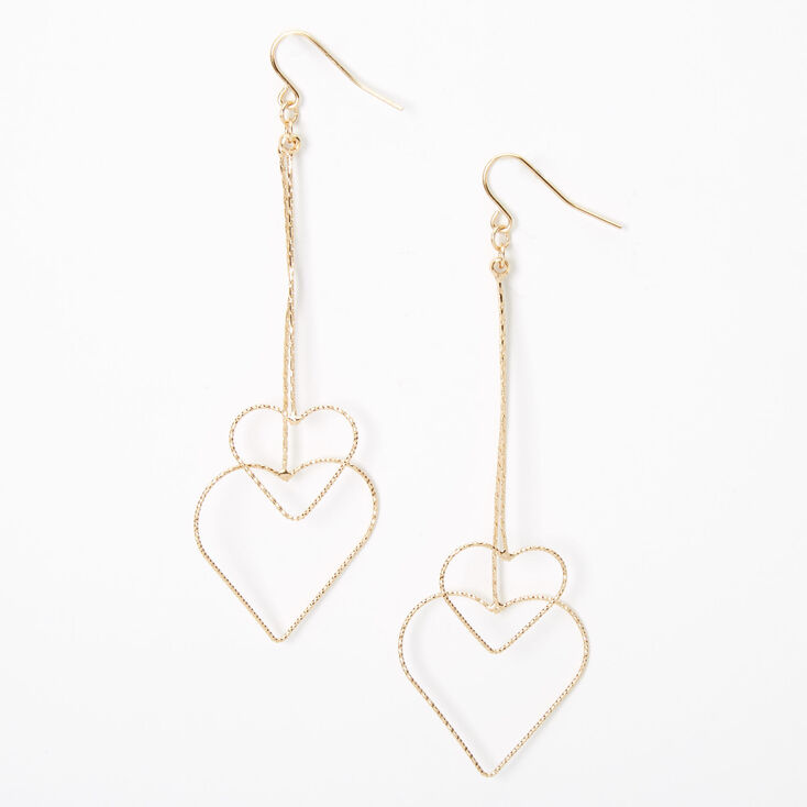 "Gold 3.5"" Double Textured Heart Drop Earrings,"
