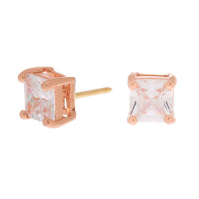 18kt Rose Gold Plated Cubic Zirconia Square Stud Earrings - 5MM,
