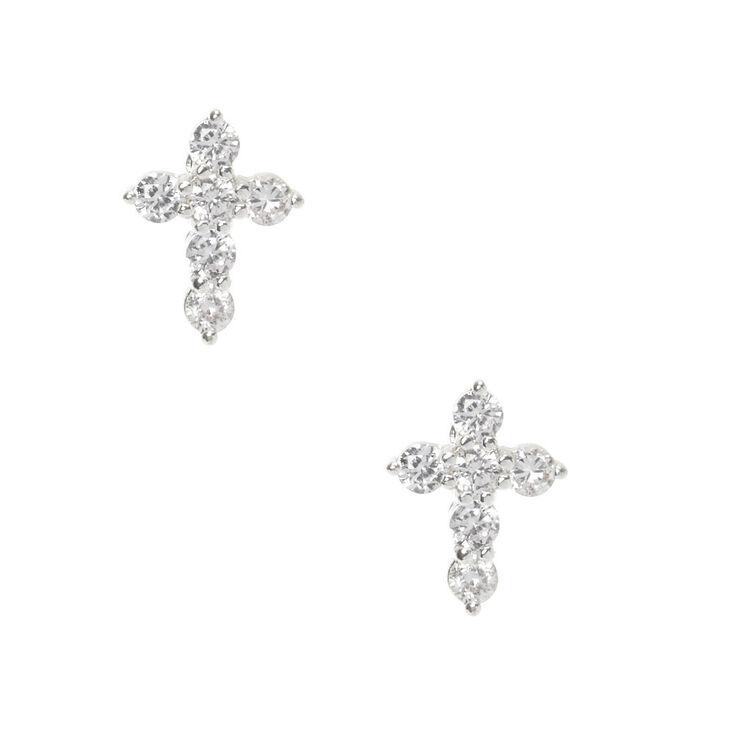Silver Cubic Zirconia Cross Stud Earrings,