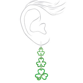 2.5'' Lucky Shamrock Drop Earrings - Green,
