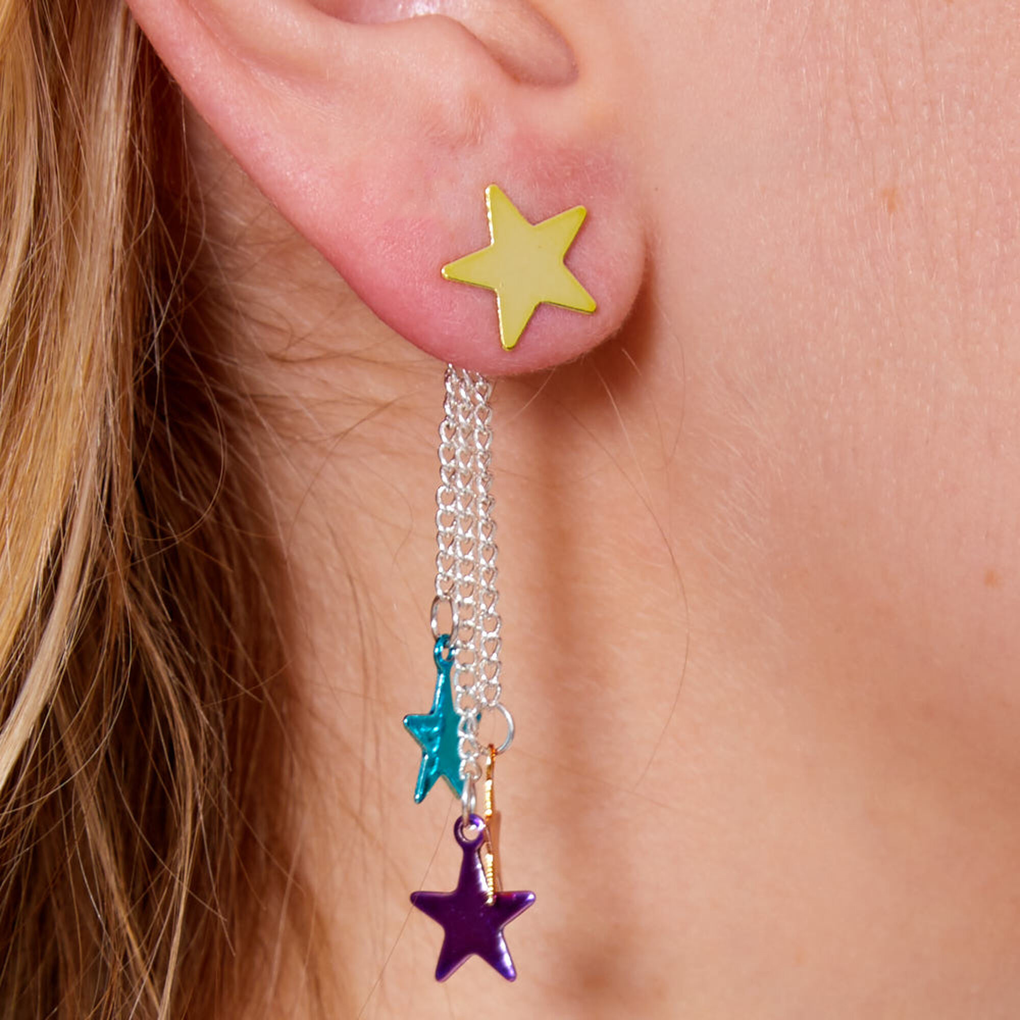 Colorful Stars Drop Front Back Earrings
