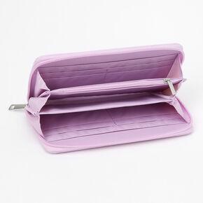 Pochette poignet à initiale violette style universitaire - O,