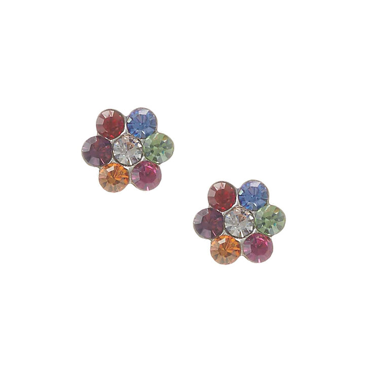 Sterling Silver Rainbow Daisy Earring Claire S