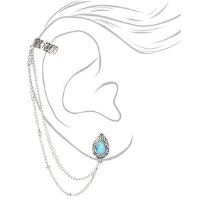 Boucles d'oreilles à chaîne en gouttes style antique couleur argentée - Turquoise,