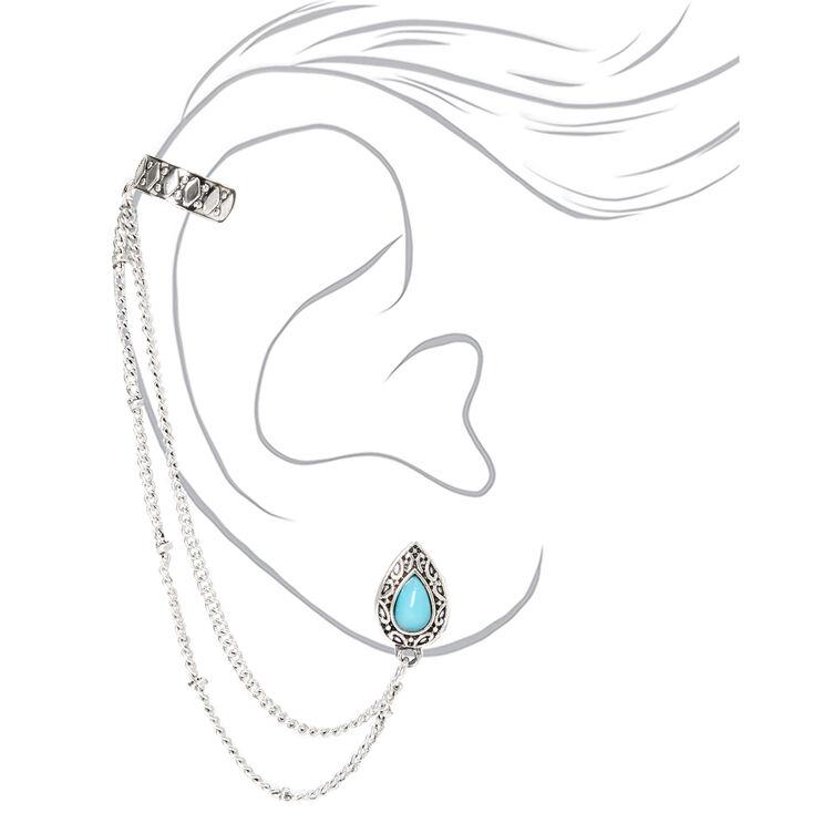Silver Antique Teardrop Ear Connector Earrings - Turquoise,
