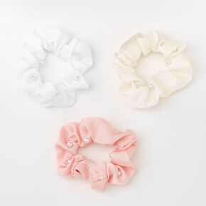 Neutral Pearl Hair Scrunchies - Pink, 3 Pack,