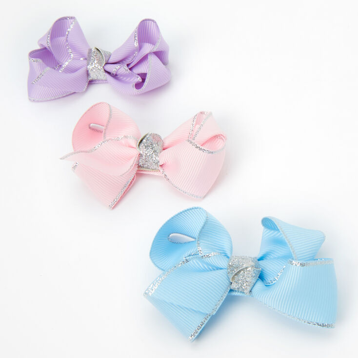 Claire's Club Pastel Bow Hair Clips - 3 Pack,