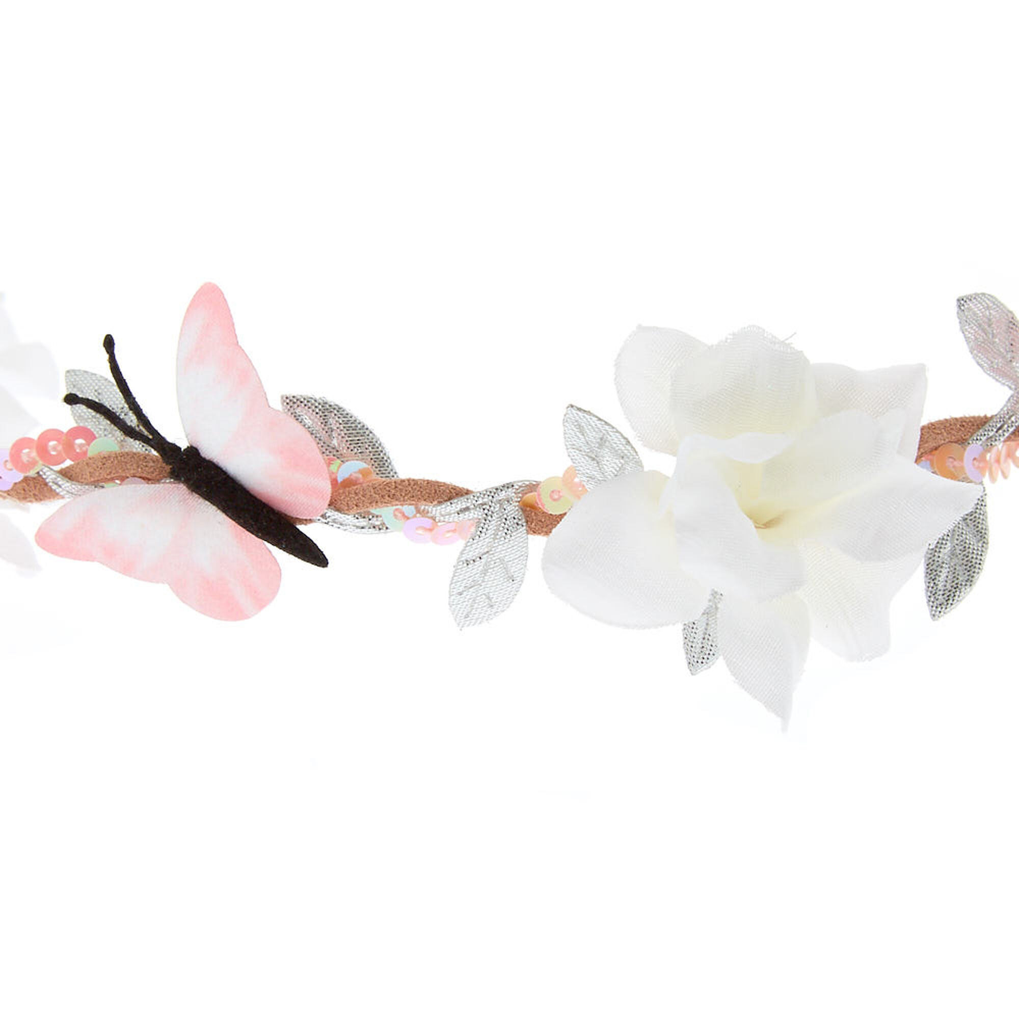 Butterfly flower crown headwrap pink claires us butterfly flower crown headwrap pink izmirmasajfo