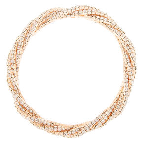 Rose Gold Rhinestone Twist Stretch Bracelet,
