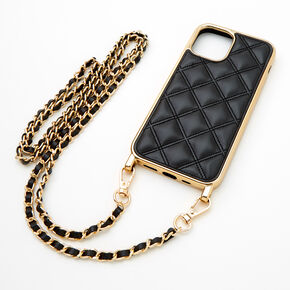 Black Quilted Phone Case with Gold Chain - Fits iPhone 12 Mini,