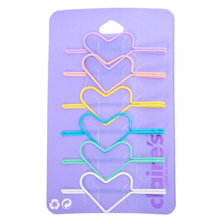 Pastel Heart Hair Pins - 6 Pack,